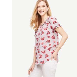 Ann Taylor Gray with Red Poppy Flowers Top Size XS